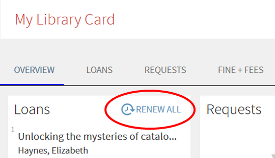 Library account overview with Renew option
